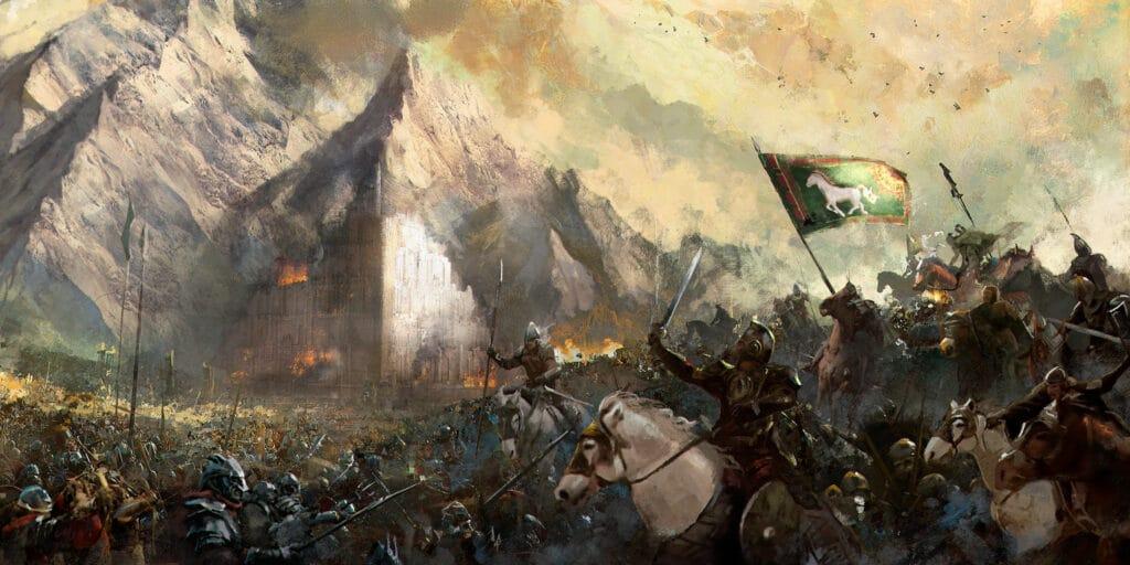 """Pintura a óleo de Cristian Otazu, intitulada """"Rohirrim atacam em Pelennor""""."""