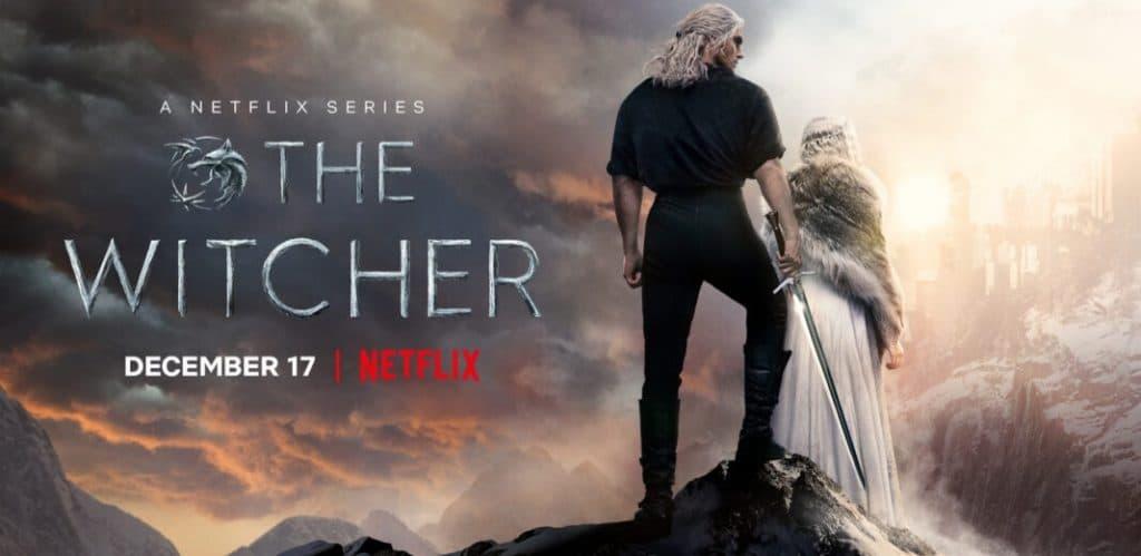 Banner oficial de Geralt de Rívia e Cirilla em uma montanha na série The Witcher da Netflix