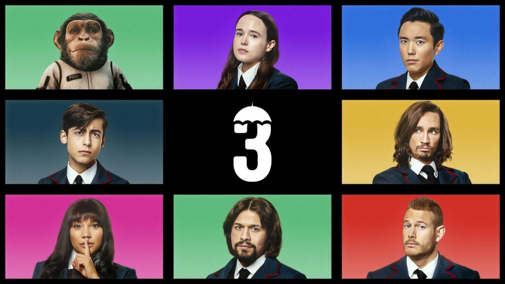 Os irmãos Hargreeves na 3ª temporada de The Umbrella Academy da Netflix