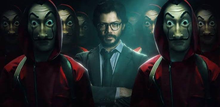 O Professor e os seus assaltantes na 5ª temporada de La Casa de Papel da Netflix