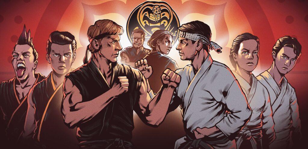 Imagem original do Nerdcast ilustrando o tópico sobre o elenco da 4ª temporada de Cobra Kai da Netflix
