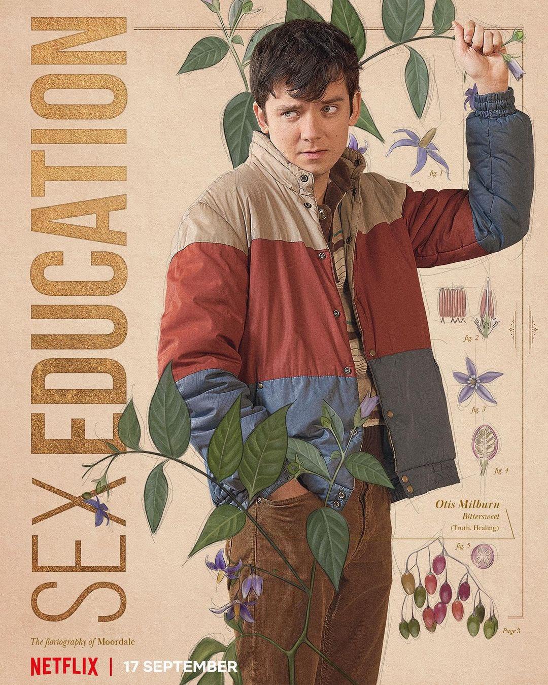 Cartazes individuais de personagens da 3ª temporada de Sex Education da Netflix